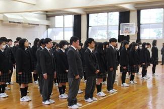 高等学校第3学期始業式が行われました